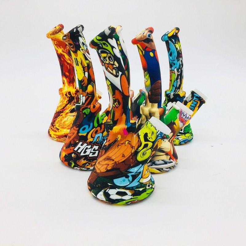 6,5 pouces couleur camouflage Beaker design Rigs pipe à eau en silicone avec bol en verre silicone Downstem Incassable Oil Rig Honey Comb Bong