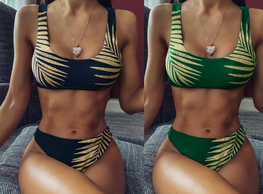 Bikinis set One piece Leopard belt swimsuit with gold leaf print bandage fish scale wear shoulder ring suit with ruffles youfine wholesale