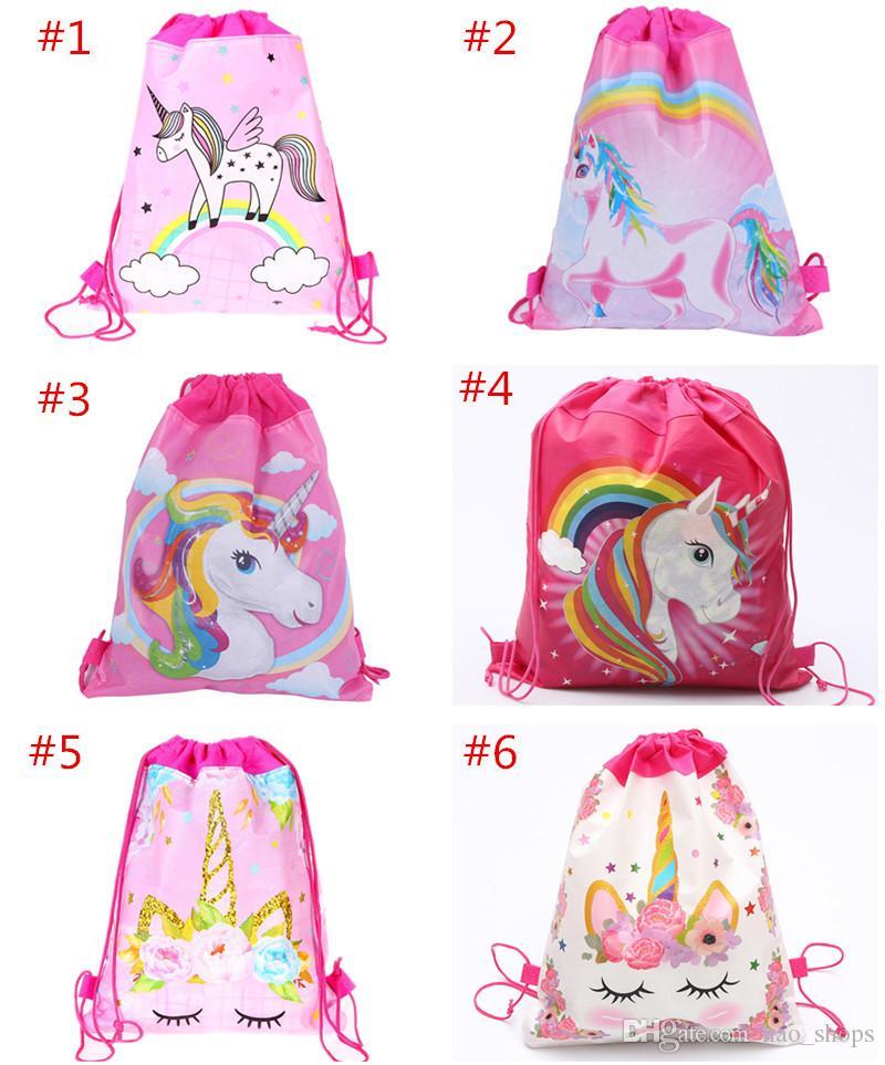 Мультфильм Unicorn Drawstring сумка Нетканые Sling Сумки Детские рюкзаки Unicorn школьные сумки Мальчики мешок партии подарка дня рождения 6 цветов