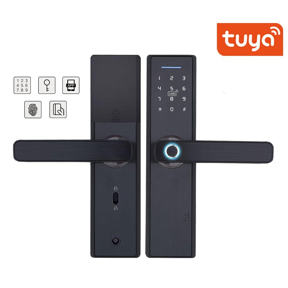 تويا واي فاي بصمات الأصابع الذكية قفل الباب، أمن الوطن قفل بدون مفتاح، كلمة المرور RFID بطاقة قفل اللاسلكية التطبيقات الهاتف التحكم عن بعد T191029