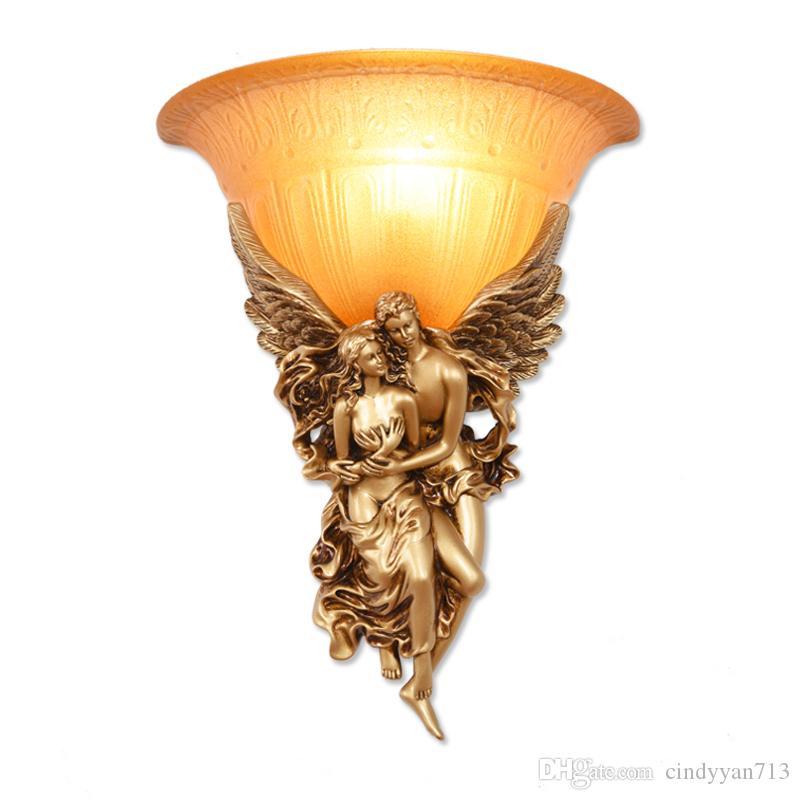 Современные светодиодные Angel Бра Стеклянные Lovers Светильник Home Decor Смола Настенный светильник Настенный светильник WA022