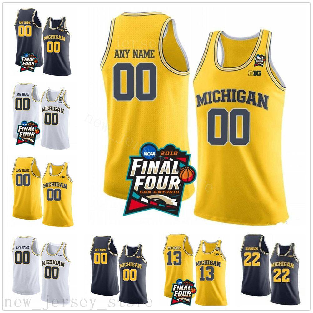 Özel NCAA Michigan Wolverines 13 Moritz Wagner 1 Charles Matthews 22 Duncan Robinson Dikişli Final Dört Koleji Basketbol Forması