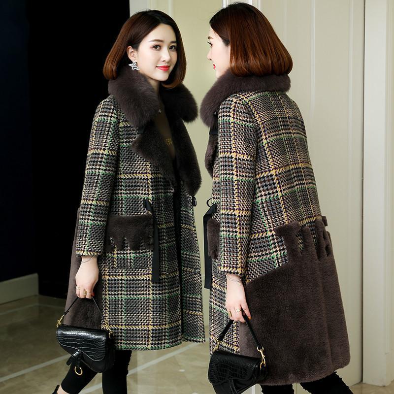 Real Шуба меха с капюшоном шерсти куртки осень зима пальто женщин одежда 2020 Корейский Урожай овец Shearling Толстые Tops ZT3908