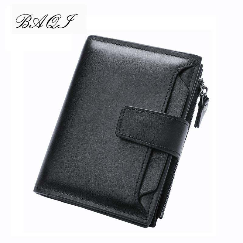 Baqi Brand Men Wallets Genuine Leather Cow Leather High Quality Coin Purse 2019 Fashion Card Holder Man Zipper Wallets Short Y19052701