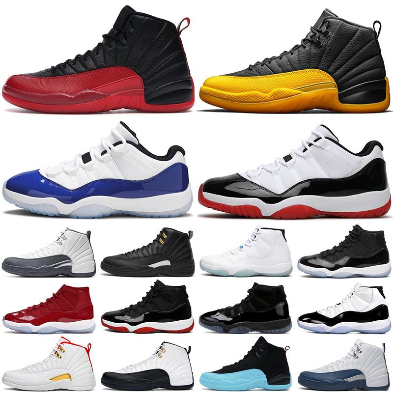 Mens Basketball shoes 12s University Gold 12 Dark Grey Flu game Taxi white 11s Concord Bred 11 Space Jam men women sports sneakers