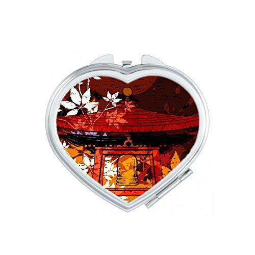 Japonya Kültür Pavilion Yaprakları El-dekore Illüstrasyon Desen Kalp Kompakt Makyaj Cep Aynası Taşınabilir Sevimli Küçük El Aynalar