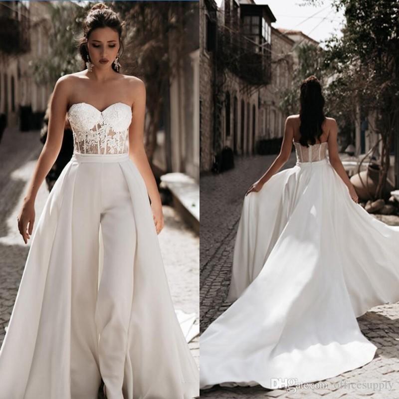 Elegante Brautkleider mit Jacke mit Perlen verziert Pailletten Hochzeit Brautkleider Knöchel-Länge plus Größen Mütter Kleid