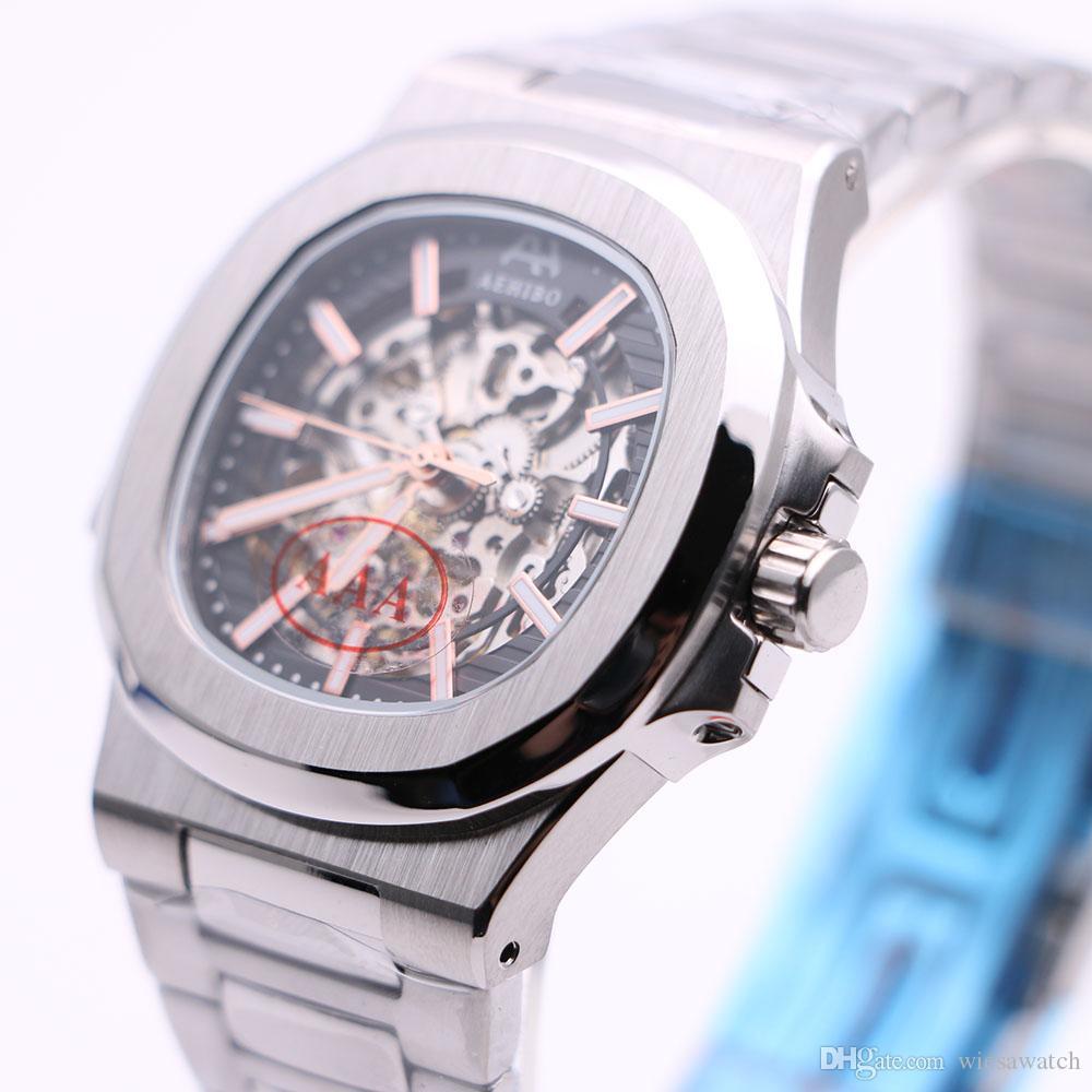 AEHIBO 투명 자동 운동 42MM 해골 블랙 사파이어 크리스탈 남성 시계 시계 스테인레스 스틸 손목 시계 다이얼