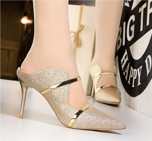 luxury Sexy Women sandals and slippers party dress shoes shallow mouth pointed fashion high heels hollow metal word with casual slippers
