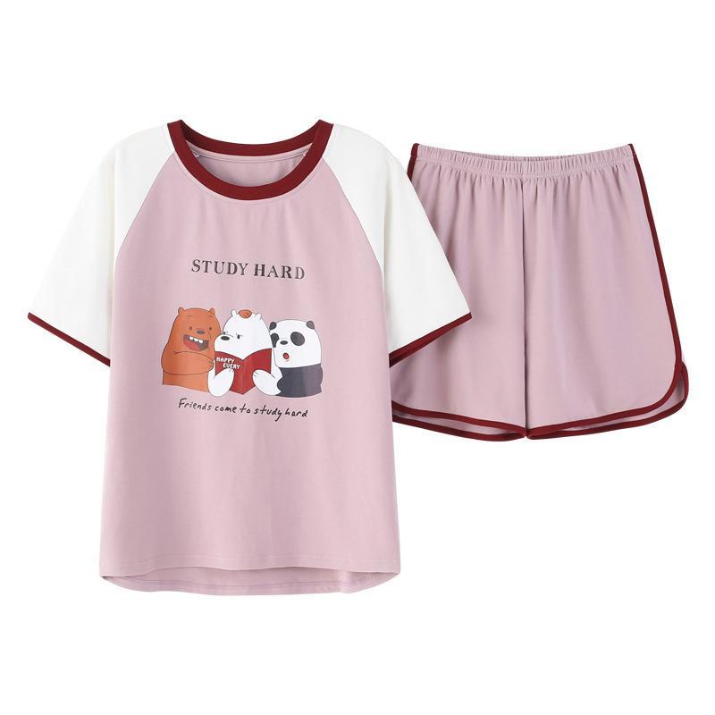 Verano pijama Mujeres Conjunto de dibujos animados cortos pijama de algodón de su casa la ropa más el tamaño pijama pantalones cortos de la ropa interior de Kawaii