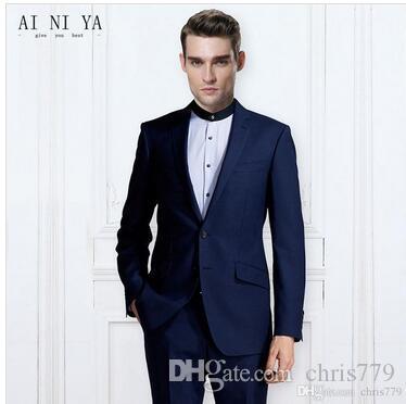 Blazers Calças Vest 2 Pieces Define Casual Dark Blue Negócios Groomsmen Wedding Suit Jacket Brasão Calças Custom Made Men de Moda