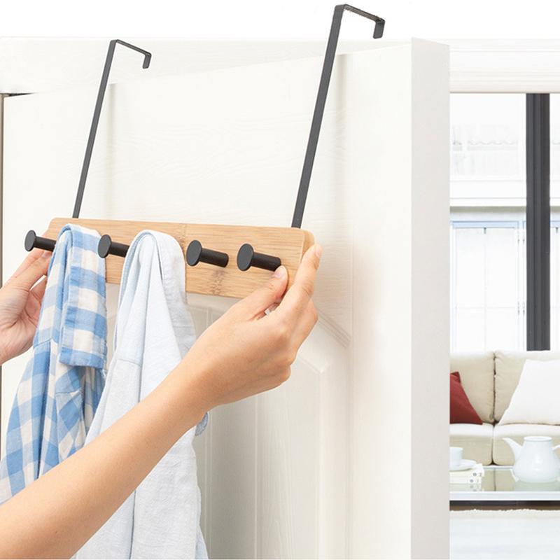 Nordic dietro il gancio porta Coat Rack Punch-libero creativo di bambù Abbigliamento Rack Soggiorno Cucina Gancio Mobili per la casa