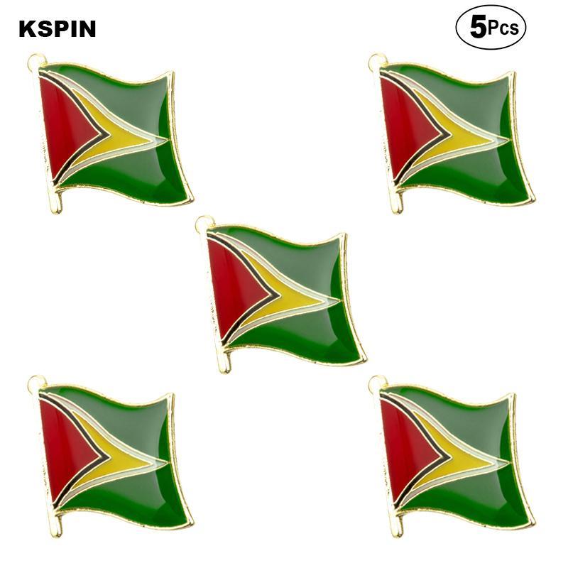Bandeira de Guyana Broches lapela da bandeira crachá broche emblemas 5pcs a Lot