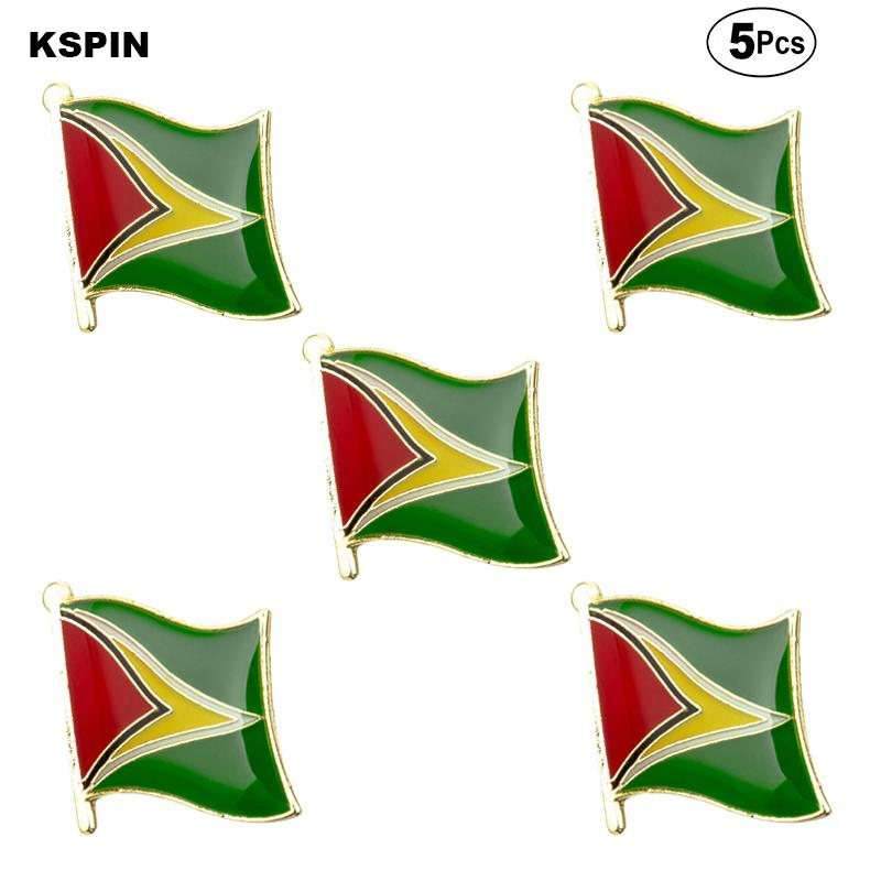 Guyana Bayrağı Broş Yaka Pin Bayrak rozeti Broş iğneler rozetleri 5 adet bir Lot