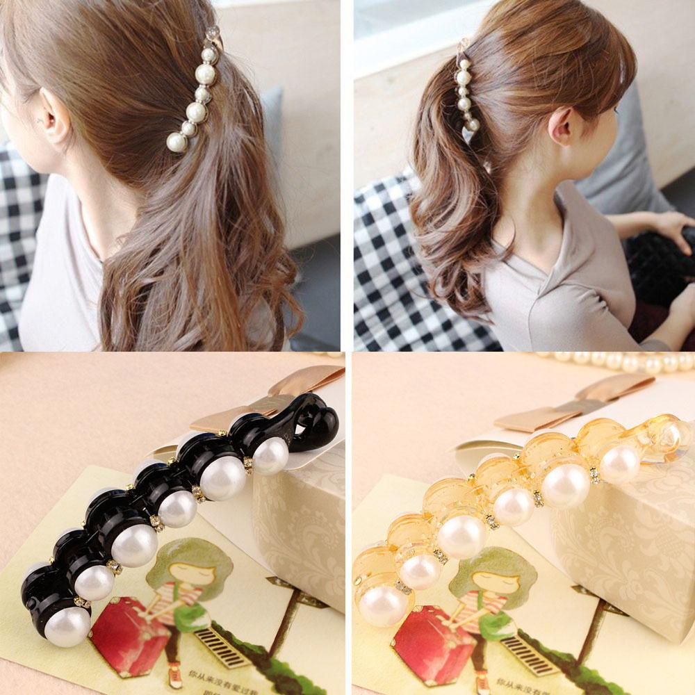 New 1Pc Simulated Pearls Hairpins Hair Clips Jewelry Banana Clips Headwear Accessories Women Hairgrips Girl Barrettes