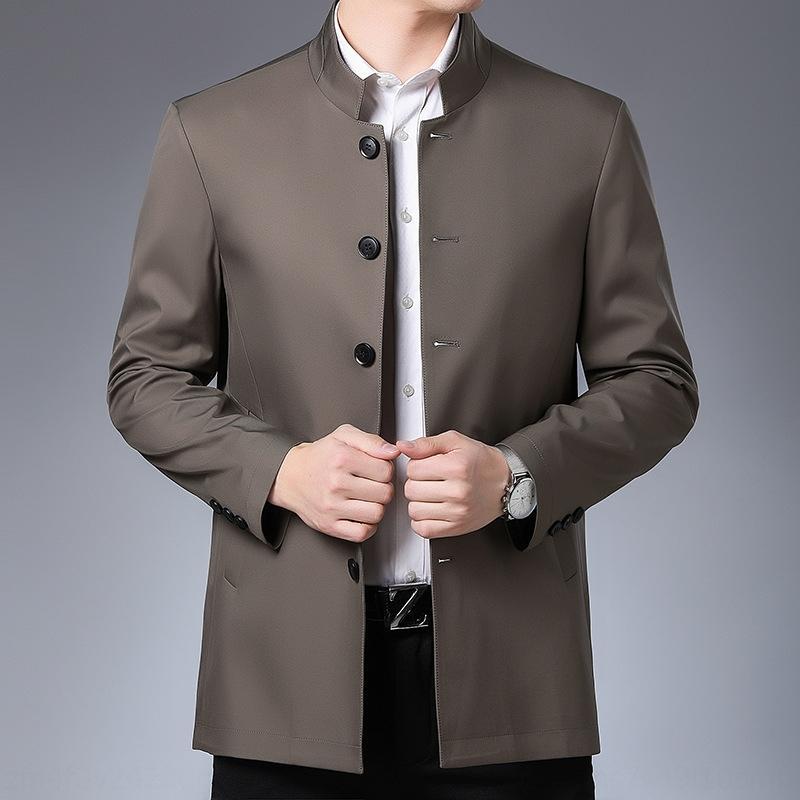 G6emj perder y nueva chaqueta de cuello alto de color sólido de la chaqueta de la capa de los hombres de mediana edad primavera todo-fósforo padre otoño