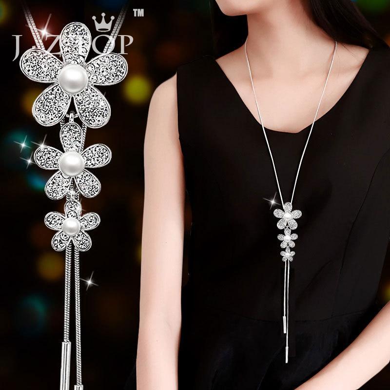 JZTOP цветы Кристалл имитация жемчуга ожерелье изысканный кисточкой кулон длинный свитер цепи женская мода колье ювелирные изделия