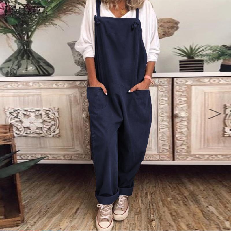 Kadın Dungarees'de Tulumlar ZANZEA 2020 Vintage Suspender Yaz tulumları Geniş Bacak Pantolon Bayan Katı tulum playsuits Oversize