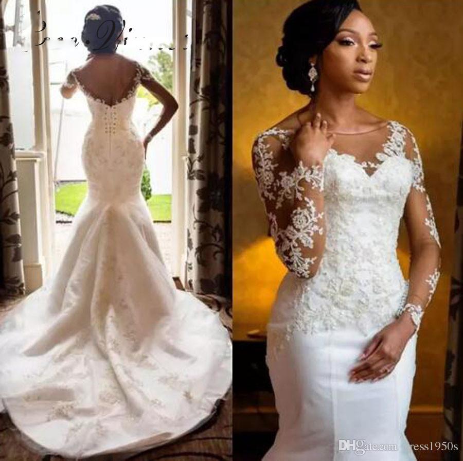 Train de corte sin respaldo Vestido de novia de manga larga Mermaid Estilo blanco Color de encaje Apliques África Vintage Vestidos de novia