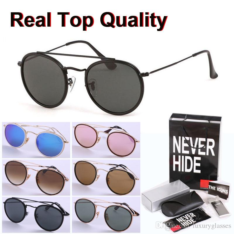 Ronda de alta calidad mujeres gafas de sol de los hombres lente de cristal de la aleación del marco de espejo Gafas retro con la caja original, paquetes, accesorios, todo!