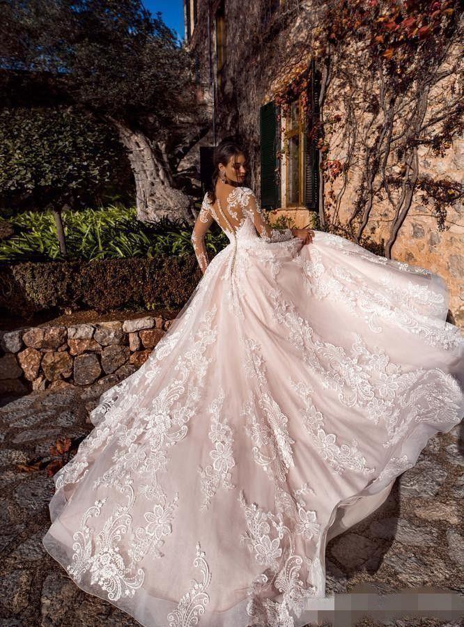 Abiti da sposa rosa Blush Abiti da sposa maniche lunghe Applique di pizzo Pulsanti con collo coperto Illusione Indietro Abito da sposa da sposa su misura Abito da sposa Plus Size