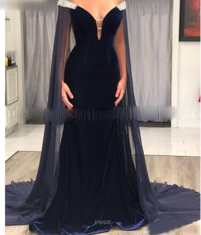 Saudi Arabia Navy Blue Velvet Mermaid Evening Dress with Cape Cloak Off Shoulder Dubai Formal Dresses African Prom Gowns