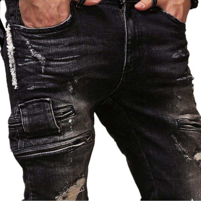 New Fashion Hole Men's Jeans Leisure Fashion Street Beggar Pants Men Black Hip Hop Jeans DRopshipping 44 46