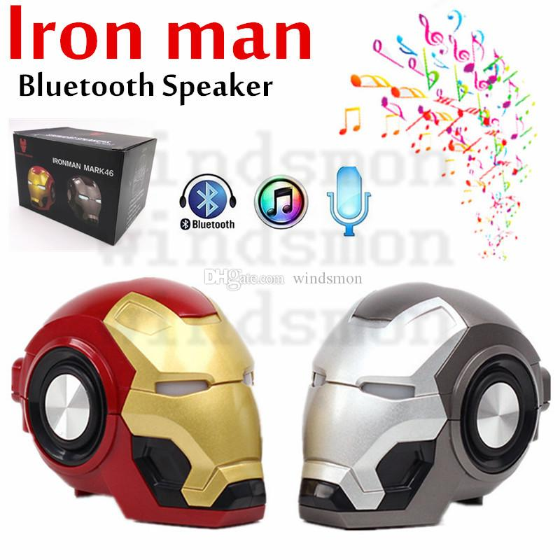 Ironman Wireless Bluetooth Speaker with LED Flash Light Robot Head Portable Subwoofer Support TF card FM radio Cartoon HiFi Boom Speaker