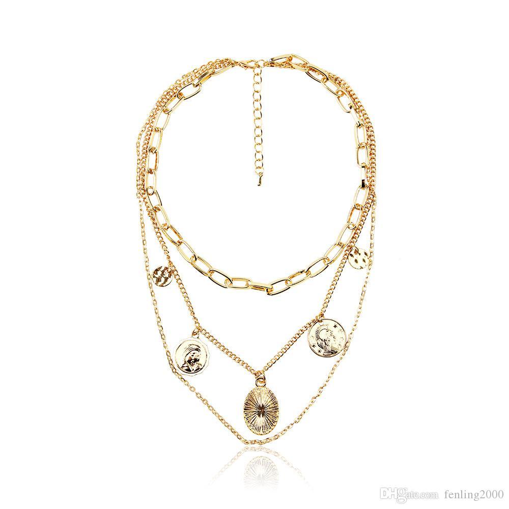colar de jóias personalizadas moeda moda retro multicamadas colar de pingente camisola cadeia de mulheres Mulheres de jóias