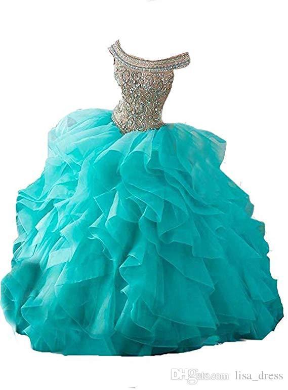 de perles de cristal de luxe Prom robe de bal 2018 épaule longue Off dos ouvert Volants bal robe de soirée douce 13 robes