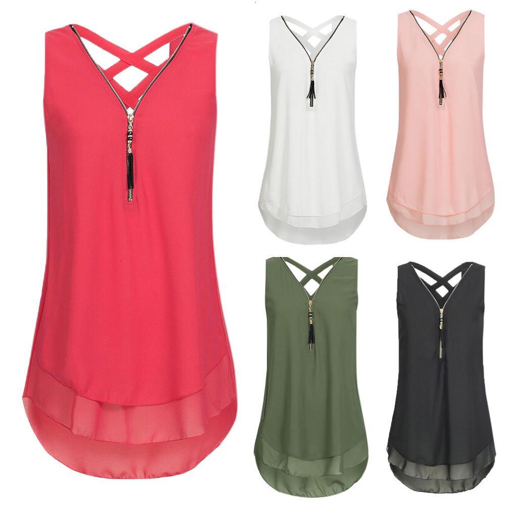 Damen Mode Tank Top Frau Tanks Tops lose Sleeveless Tank Top Kreuz Hem Layed Zipper mit V-Ausschnitt T-Shirts Spitzen Cc