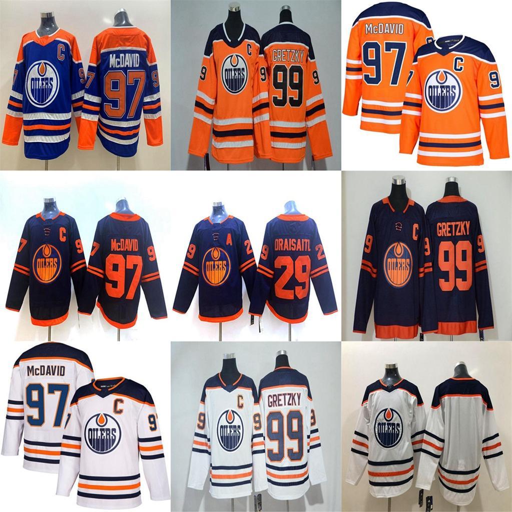 Edmonton Oilers Jersey Hommes 97 Connor McDavid 29 Leon Drisaitl 93 Ryan Nugent-Hopkins 99 Wayne Gretzky 18 James Nual Hockey Jerseys cousu