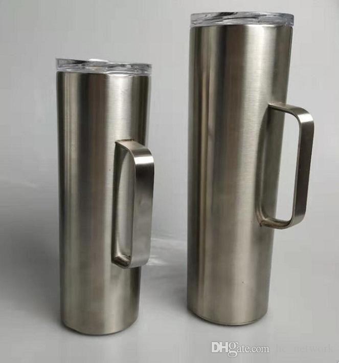 30 oz de acero inoxidable flaco vaso con mango recto con aislamiento al vacío de la taza con la taza en las tapas de cerveza café Stock