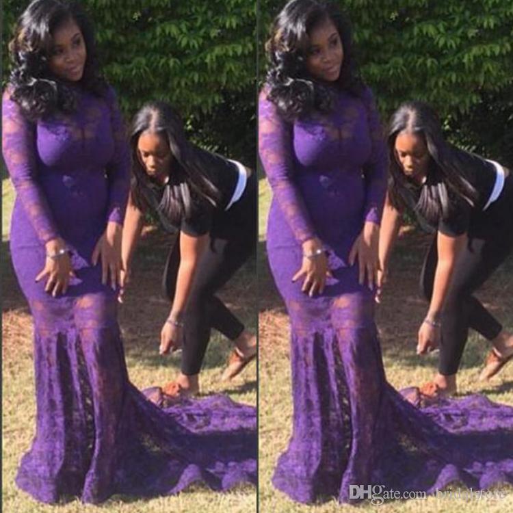 Barato sirena púrpura vestidos de baile más tamaño completo de encaje de manga larga cenicienta Negro vestido de noche de las muchachas 2018 vestidos del desfile de verano mujeres gordas