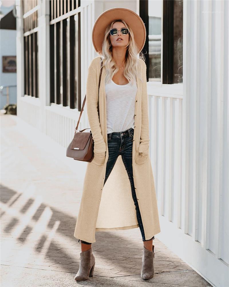 Свободный кардиган свитер Мода тонкий сплошной цвет Карманные женские Одежда женская Проектировщик Длинные Вязаные пальто зимы