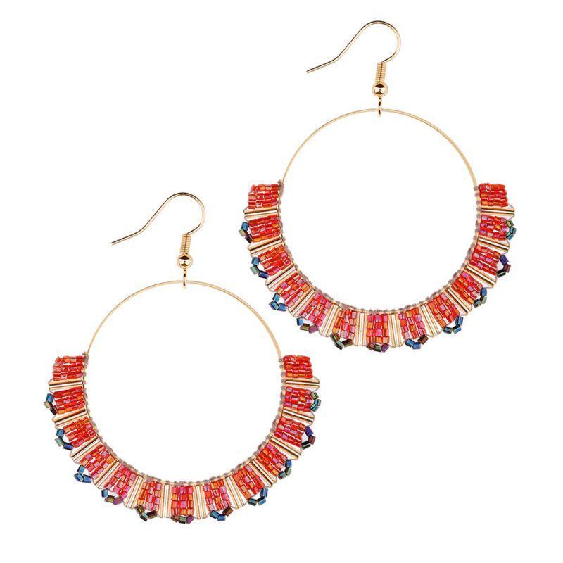 Kadınlar Kız Sıcak 2020 Moda Boncuk Dangle Küpe Büyük Çember kolye Küpe Mücevher Hediyelik