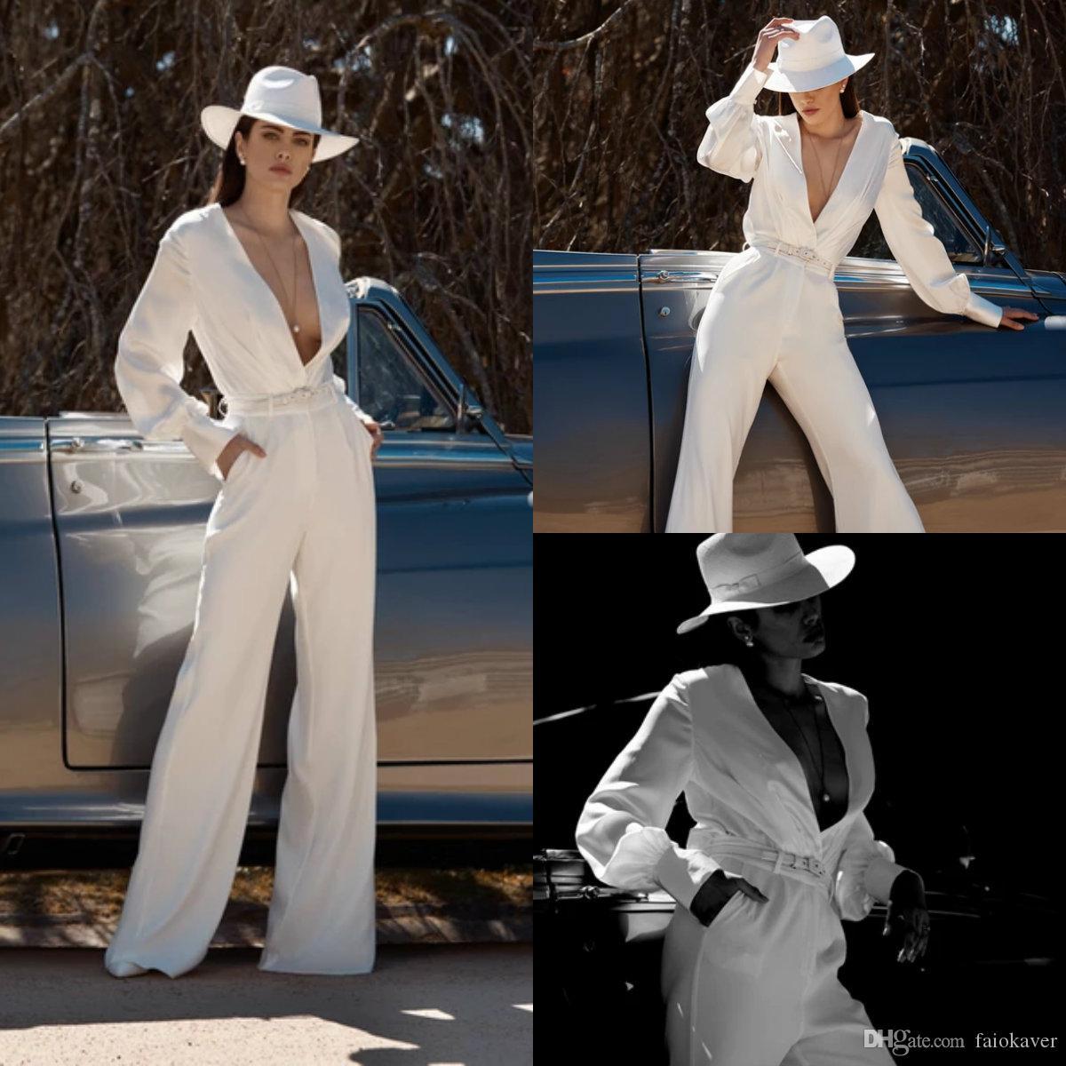 2020 Fashion Wedding tuta profondo scollo a V in raso di seta Piano Lunghezza Pantaloni da sposa vestito su spiaggia fatta Abiti da sposa Abiti da sposa