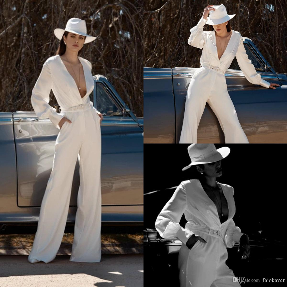 2020 Moda Düğün Jumpsuit Derin V Yaka İpek Saten Zemin Uzunluk Gelin Pantolon Custom Made Beach Gelinlik vestidos de novia Suit
