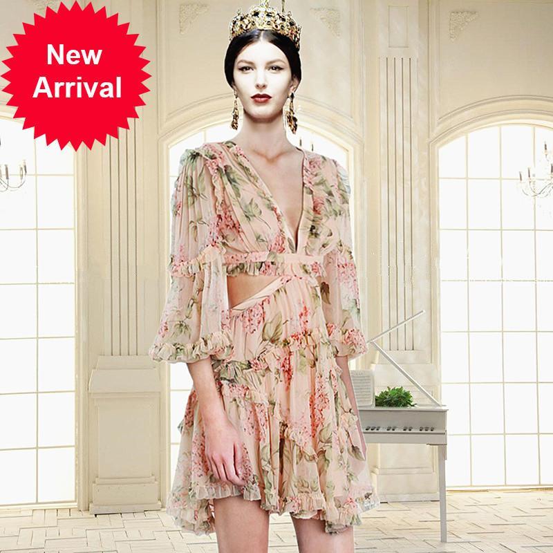 Piste Designer Haute Qualité 2018 Nouveau Tempérament Évider Traverser Bandage Retour Mousseline De Soie Impression Robe Femme Femme Vestidos