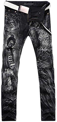 Erkekler Baskılı Denim Uzun Düz Skinny-Fit Pantolon Kot J229 Yıkanmış