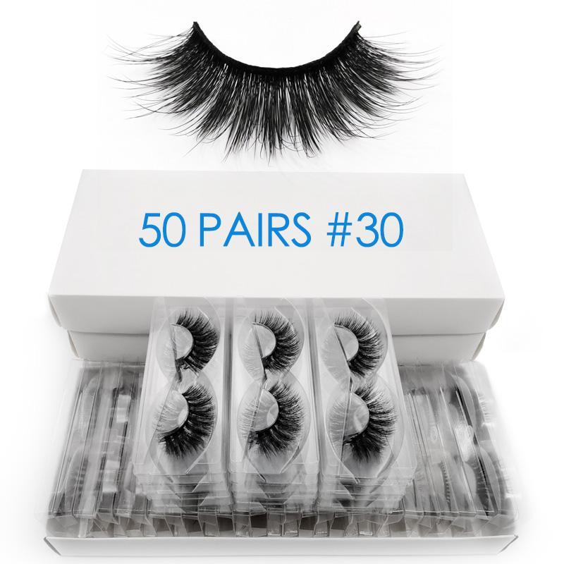 50 Paare Großhandel Nerz Wimpern bulk flauschigen 3d Wimpern 100% Grausamkeit freie natürliche lange falsche Wimperverlängerung Make-up cilios