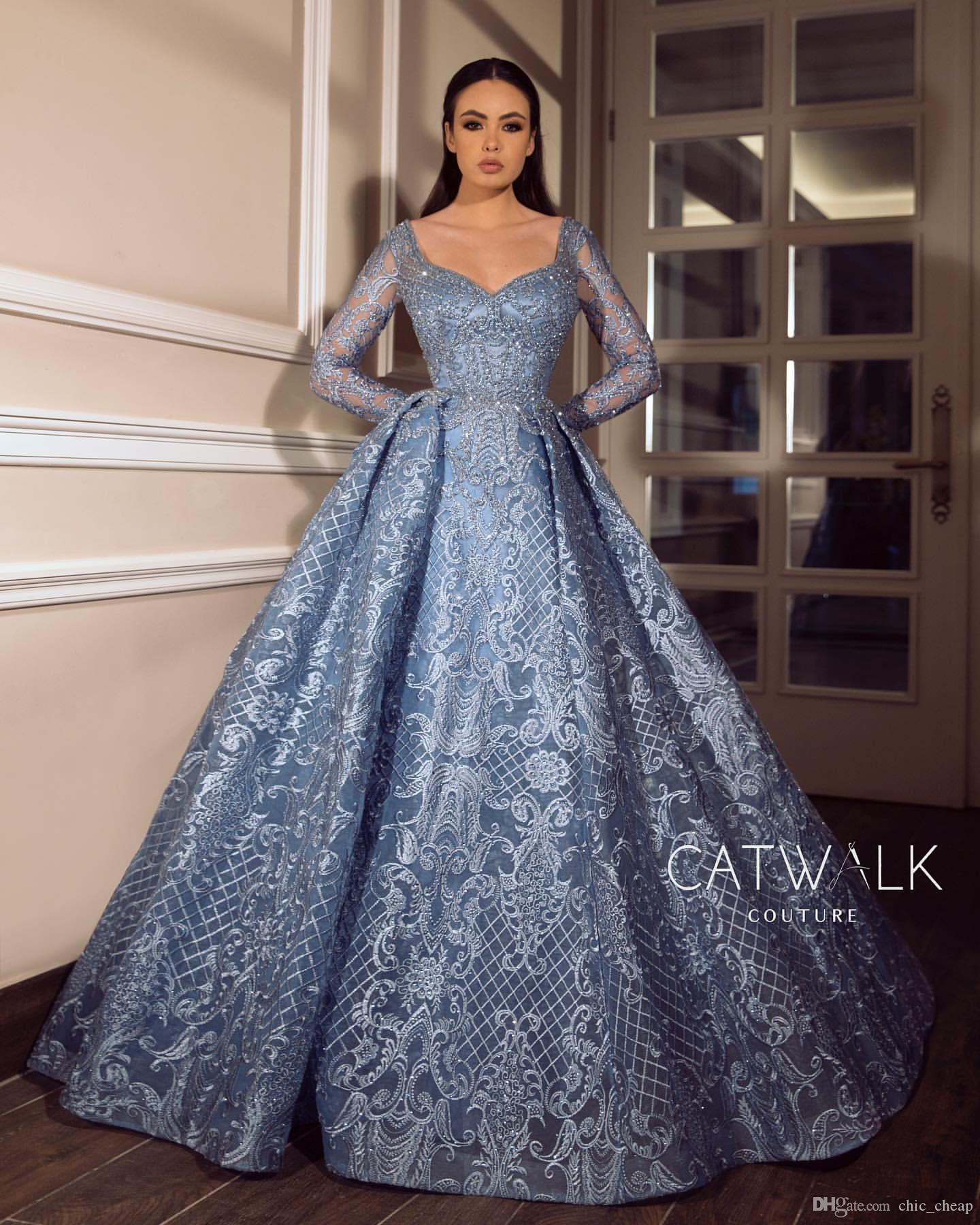 2019 arabe Aso Ebi luxe dentelle perlée robes de soirée manches longues pure cou robes de bal Sexy formelle partie demoiselle d'honneur robes de reconstitution historique