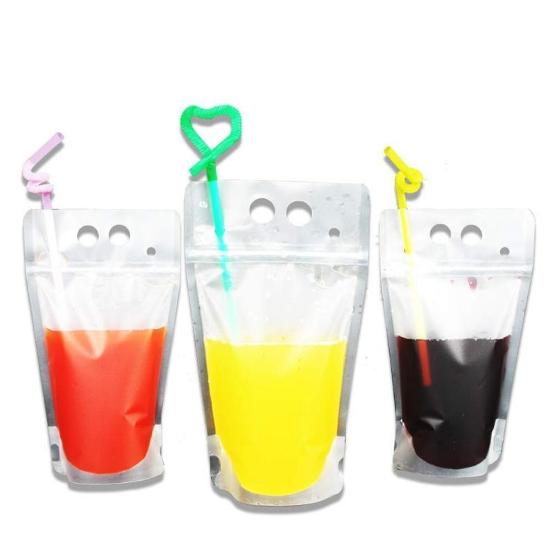 Clear Drink Pouches Bags frosted Zipper Stand-up Plastic Drinking Bag with straw with holder Reclosable Heat-Proof