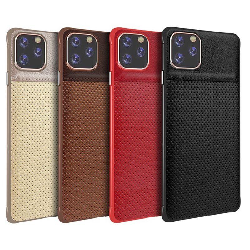 Pour iphone 11 x pro xr xs max 8 7 6 plus de téléphone portable en cuir PU concepteur dot mince couverture arrière cas nouvelle mode