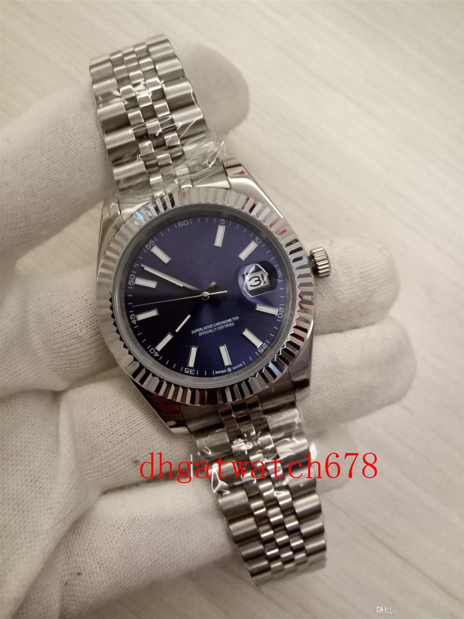 Luxus-Männer hohe Qualit 41mm 126334 Edelstahl-Silber-Lünette Saphirglas Zifferblatt blau automatische Männer Bewegung Armbanduhr