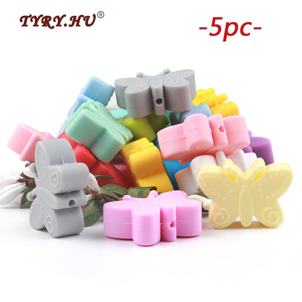 TYRY.HU 5PC / lotto Monili mini branelli allentati silicone della farfalla del grado per Beads dentizione collana DIY bambino Fare BPA