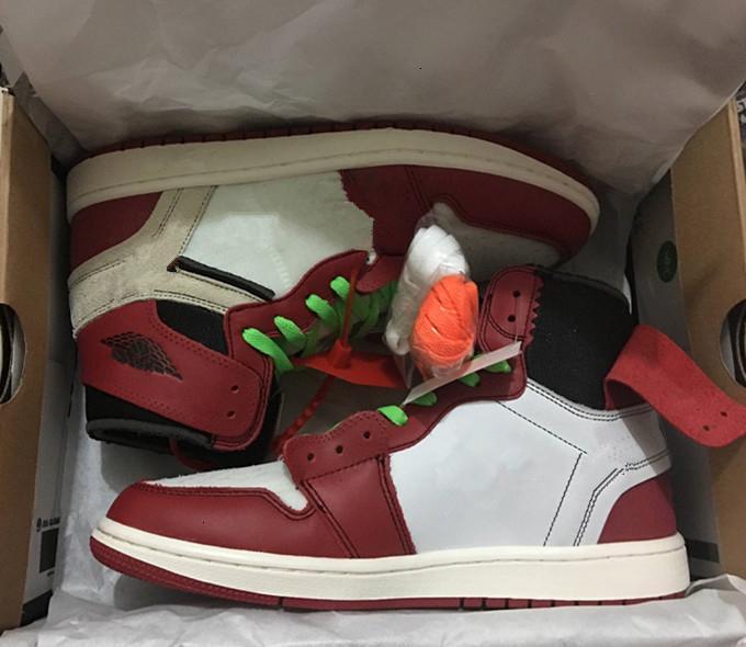 Vermelho com caixa de 1 New Black White Men tênis de basquete Sports Sneakers Atacado Correndo Trainers Outdoor 1s Top Quality Tamanho 7-12