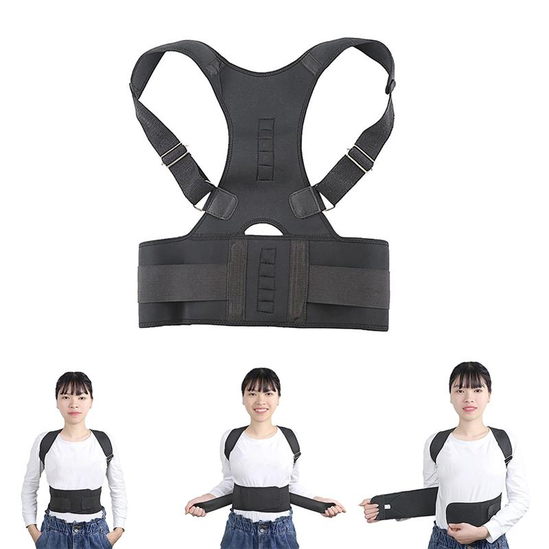 Adult Teens Magnetic Back Posture Corrector Support Humpback Orthopedic Brace Adjustable Back Spine Straightener 2020