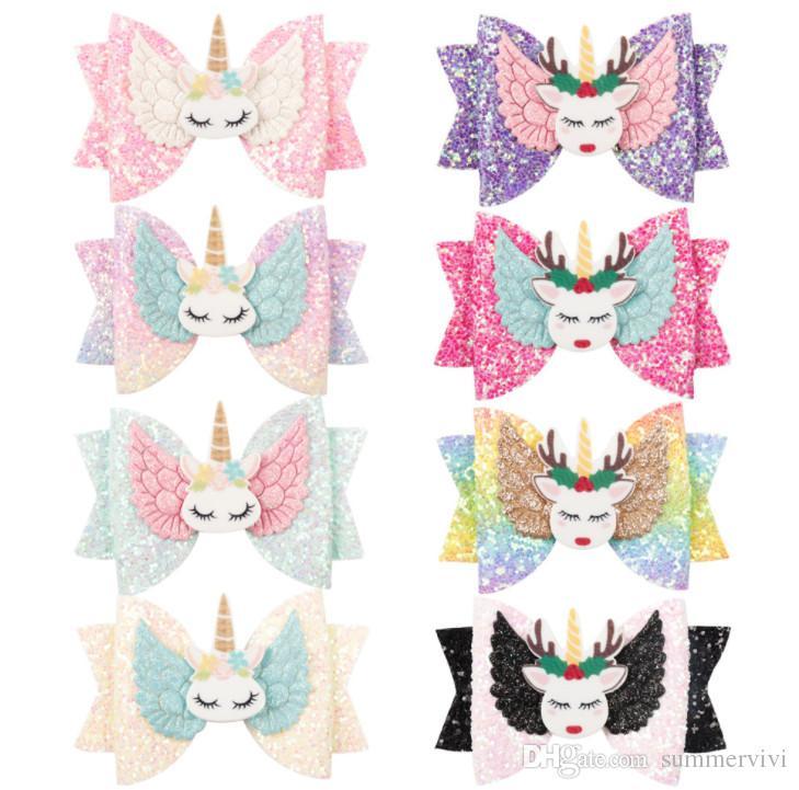 3 Pulgadas lentejuelas Arcos unicornio niños horquillas boutique niñas alas de ángel modelado princesa pinza de pelo de los niños cosplay fiesta barrettes F8728