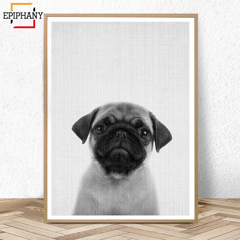 Puppy Dog Wall Art Nursery Decor Black and White Animals Poster Modern Minimalist Animal Painting Pictures Kids Room Decoration
